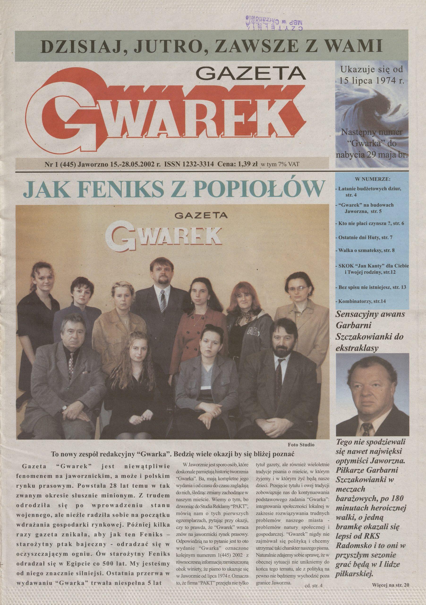 Pierwsza strona czasopisma Gwarek