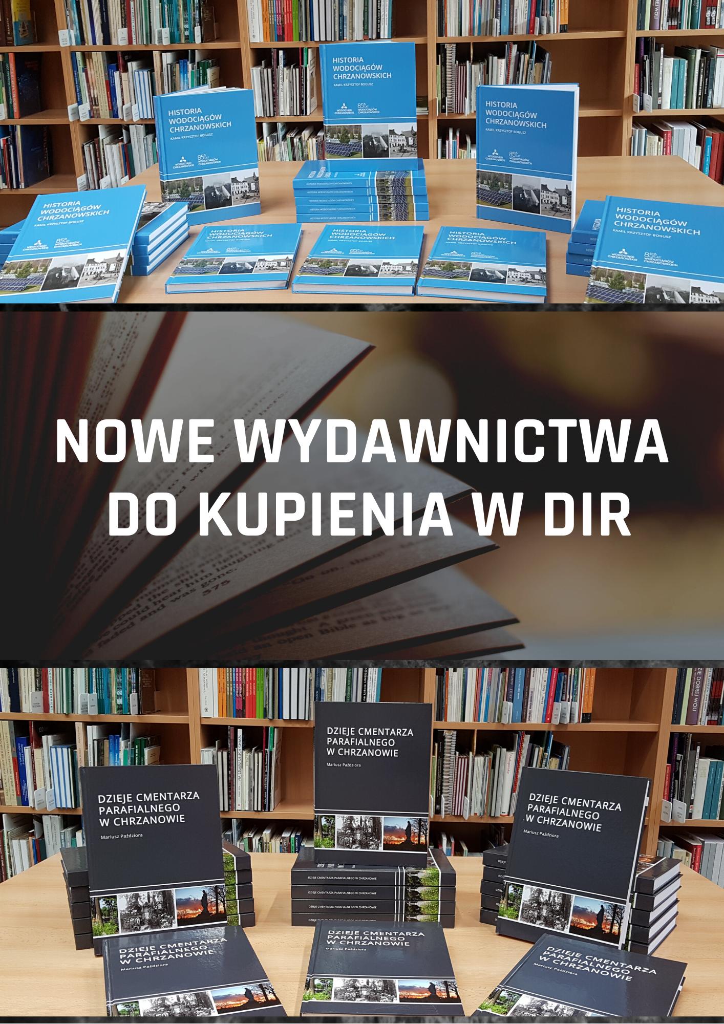 Afisz informujący o nowych wydawnictwach w serii Biblioteczka Regionalna Ziemi Chrzanowskiej