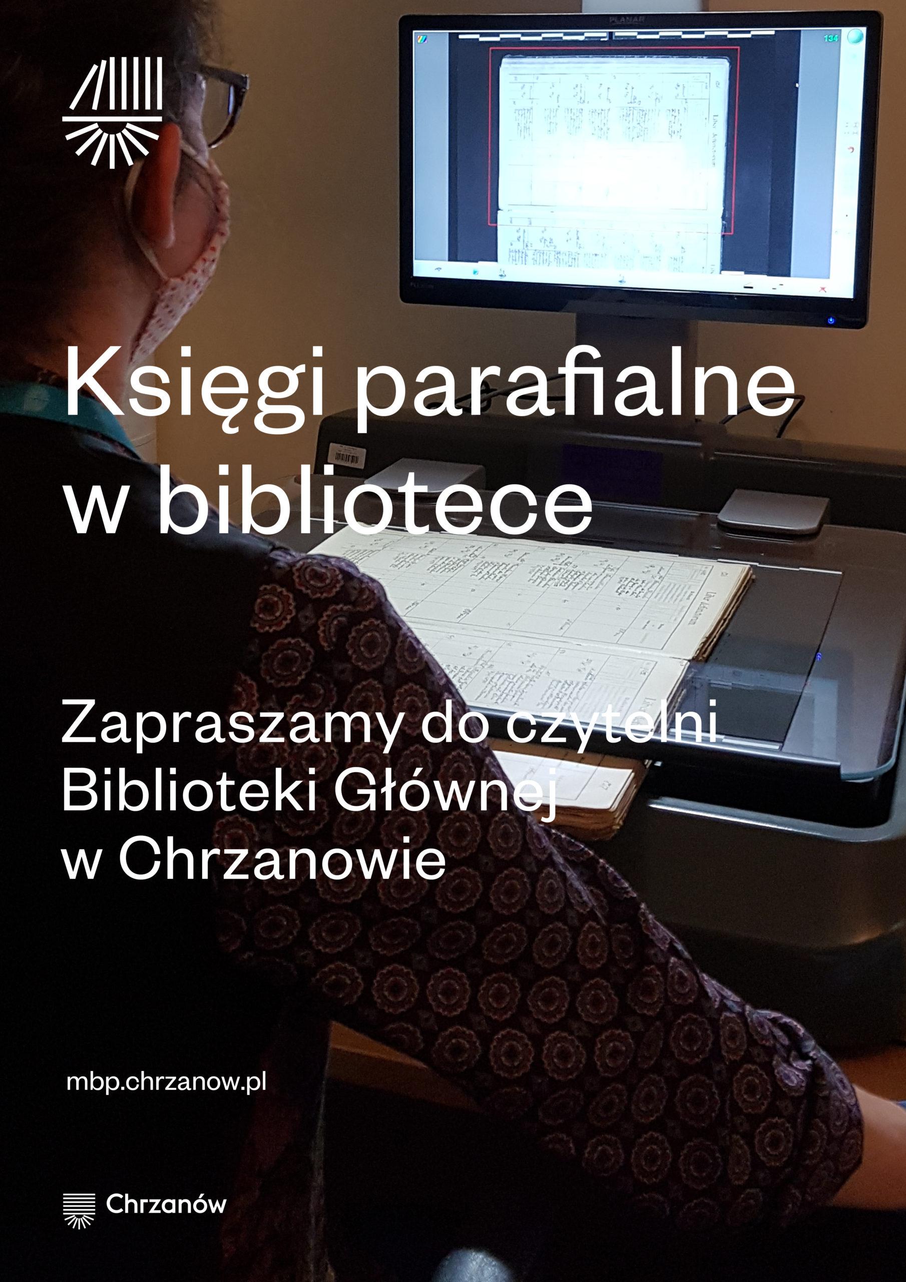 Plakat informujący o stanowisku do przeglądania ksiąg parafialnych, które znajduje się w czytelni Biblioteki Głównej