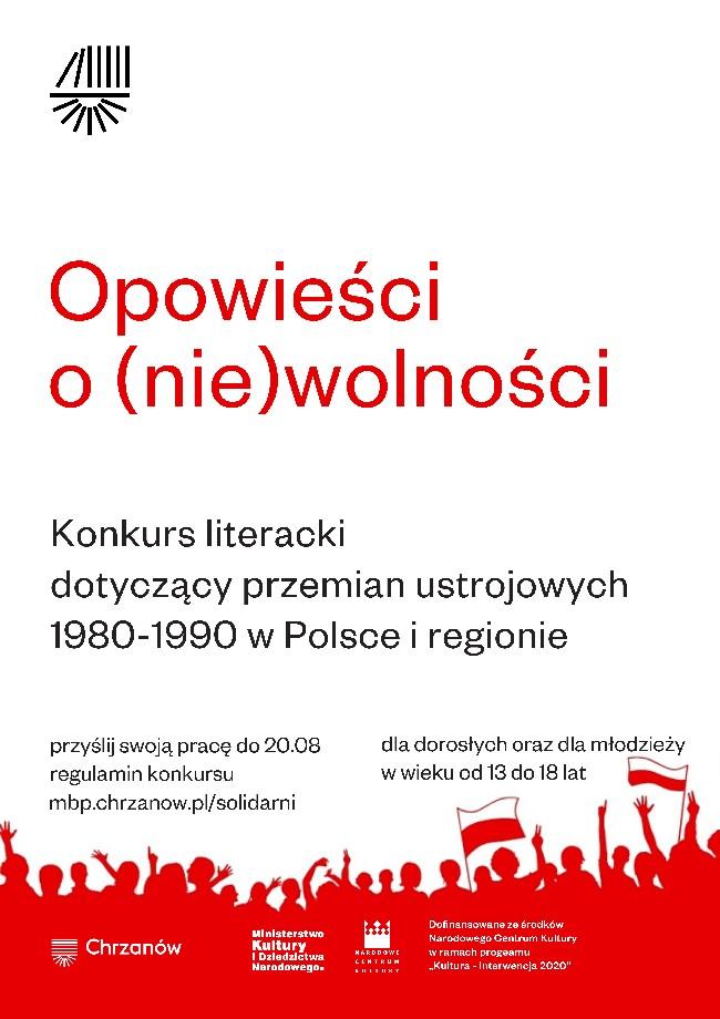 """Konkurs """"Opowieści o niewolności"""" plakat"""
